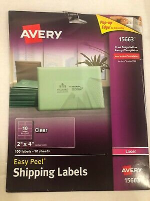 "Avery Easy Peel Permanent Laser Address Labels, 15663, 2"" x 4"", Clear 90-Pk"
