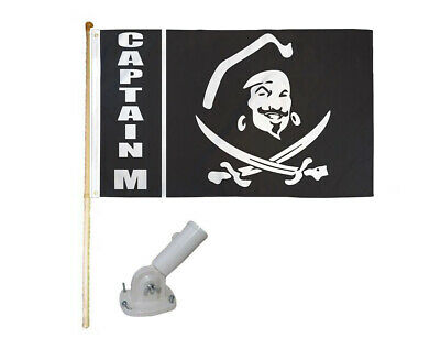 5/' Wood Flag Pole Kit Wall Mount Bracket With 3x5 Pirate Captains Polyester Flag