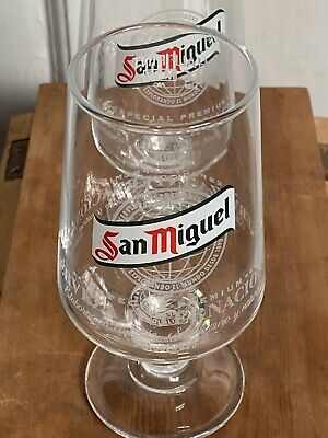 Pair Of 2 San Miguel Half Pint Toughened /& Nucleated Glasses Glass CE M10 New
