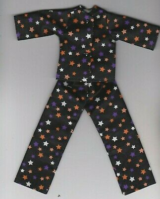 Doll Clothes-Pretty Black//White Print Pajamas that fit Barbie-Homemade BP1