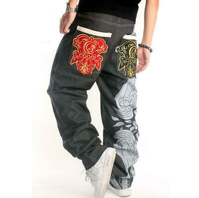 Mens Black Denim Cotton Wide Leg Straight Punk Hip Hop Boys Pants Trousers Loose