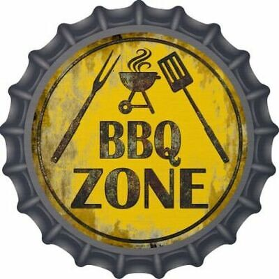 """BBQ Barbecue Zone 12/"""" Round Metal Sign Novelty Cook Food Grill Garden Wall Decor"""