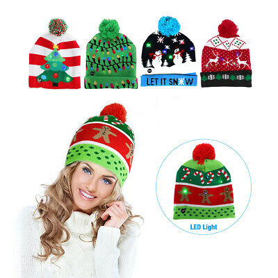 Christmas Tree LED Light Up Hat Beanie Xmas Sweater Knitted Cap Adults Kids Gift