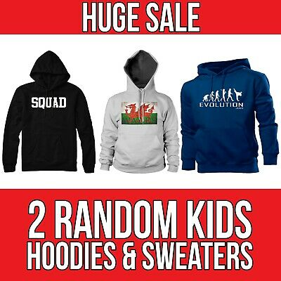 2 HOODIES * HUGE CLEARENCE SALE * Kids Childrens Printed Hoodie Sweat Funny Gift