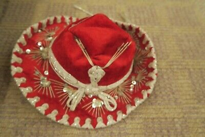pigalle xx vintage red velvet sequins mexican sombrero hat childrens kids size