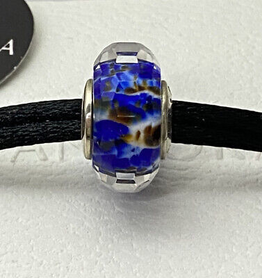Authentic Set of 2 Sterling Silver S925 Deep Ocean Sea Glass Beads