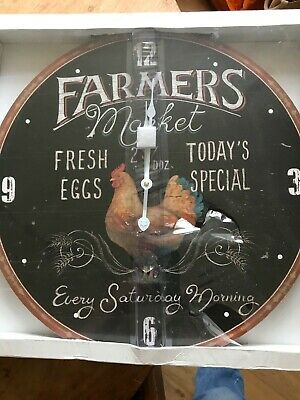 /'Old Farmers Meat Market/' Pig Design 30cm Wall Clock Black *NEW* Boxed