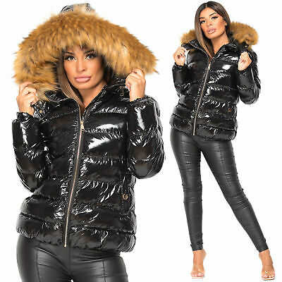 Womens Jacket Ladies Quilted Wet Look Shiny Padded Puffer Faux Fur Hooded Coat