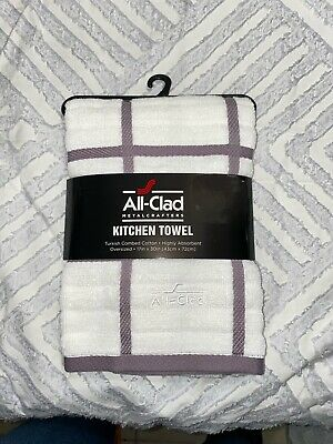 ALL CLAD  KITCHEN TOWELS 2 BLACK  WINDOWPANE EOVERSIZED  COTTON 17 X 30  NWT