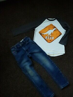 Next Boys Age 2/3 Years Outfits -  Long - Sleeved Dinosaur  Top + Skinny Jeans