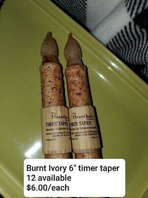 "Set of 2-LED Burnt Ivory 6""-6.5"" Battery Operated-TIMER-Taper Candles-FREE SHIP"