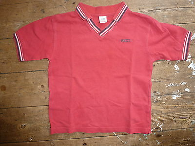 Vintage Next Boys Polo Shirt 3-4 yrs Red with blue detail 100%Cotton Cute & VGC