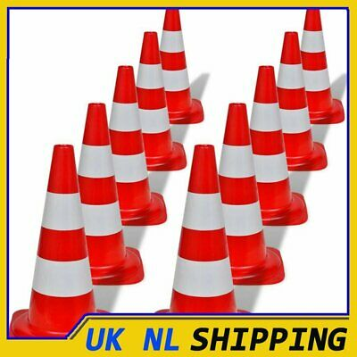 UKING 10x Reflective Traffic Cones Red and White 50cm Parking Safety Road