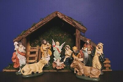 Vintage Nativity Set Real Wood Stable 11 Piece Ceramic Figures And Animals 55 00 Picclick Uk
