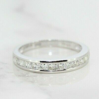 9ct Diamond Crossover Eternity Ring White Gold Sizes K1//2 Q Sizable