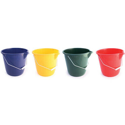 10Ltr Plastic Bucket Colour Coded round Cleaning Washing Industrial Trade Feed