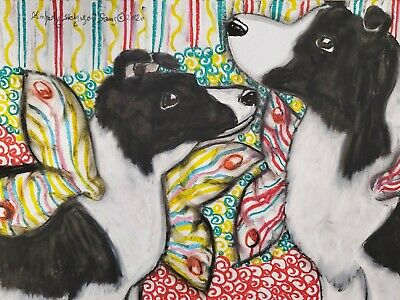BORDER COLLIE JESTERS Dog Art 8 x 10 Signed Giclee Print Collectible Artist Kimberly Helgeson Sams