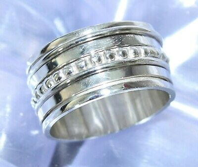 Solid 925 Sterling Silver Spinner Ring Meditation Statement Handmade Jewelry 144