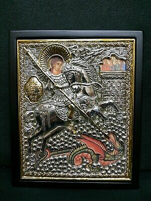 Saint George Holy Great Martyr the Trophy Bearer Silver Orthodox Icon 17.5x21cm