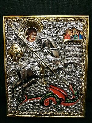 Saint George Holy Great Martyr the Trophy Bearer Orthodox Icon Silver 19x15cm