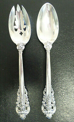 Wallace Grande Baroque Large Solid Sterling Pierced or Slotted Serving Spoon