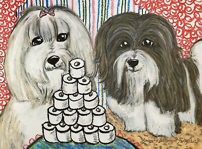 Havanese Collectible 5 x 7 Dog Pop Art Print Signed by Artist KSams Chocolate