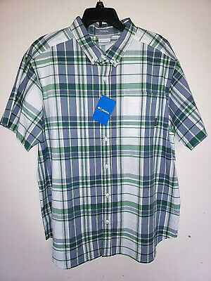 Mens Columbia Rapid Rivers Short Sleeve Button Up Plaid Shirt New Size XL