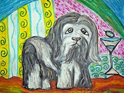 "Havanese ACEO Dog Art Print Signed by Artist KSams 2.5 x 3.5 ""Martini Modern"""