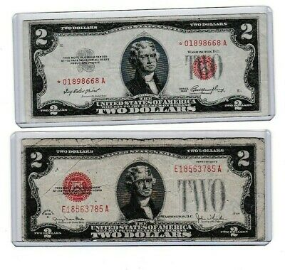 1953B $2 red seal star note/& 1963 $2 red seal lot of one each
