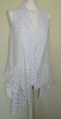 LADIES WHITE SUMMER TOP CHEESECLOTH HIPPY BOHO STYLE CROCHET TASSEL DETAIL 10 16