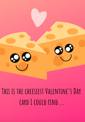 Cheese Valentine/'s Day Card Food Pun Funny A6 Handmade Small Card