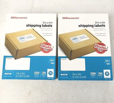 "Lot of 2 - Office Depot Laser Shipping Labels, 2"" x 4"", White, 2500 Labels"