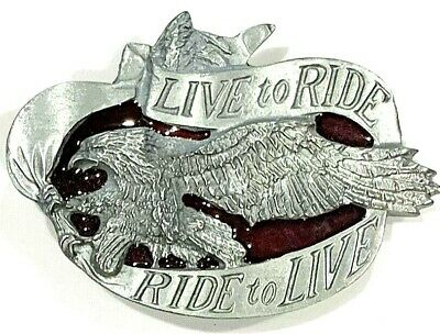 """RIDE TO LIVE  METAL BELT BUCKLE WITH EAGLE 3.75/"""" X 2.5/""""  LIVE TO RIDE--"""