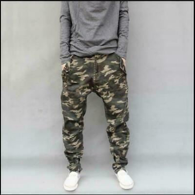 Mens Jogger Skinny Pants Pockets Overall Harem Military Trouser Tapered Casual h