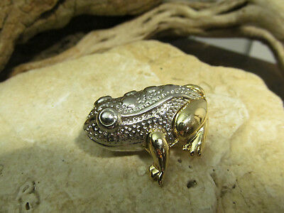 Vintage Gold Silver tone Liz Claiborne LC signed  Detailed Frog Pin
