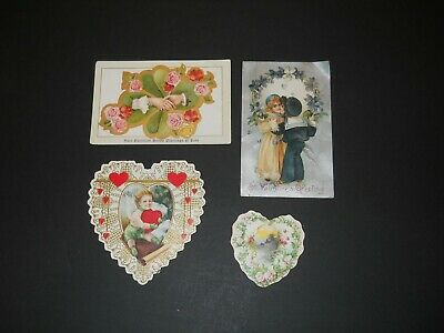 10 Antique valentine postcards..Loving couples..1908-1911..All used..good condition