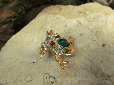 Vintage Gold Tone Sphinx Green Red Blue cabochons Frog pin brooch