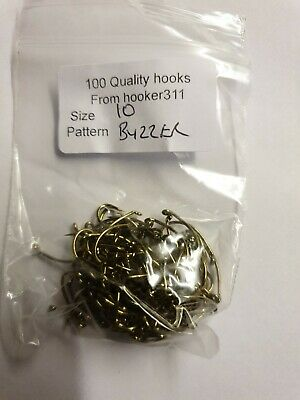 FREE POSTAGE Fly TYING 100 x Size 10 buzzer hooks bronzed and barbed