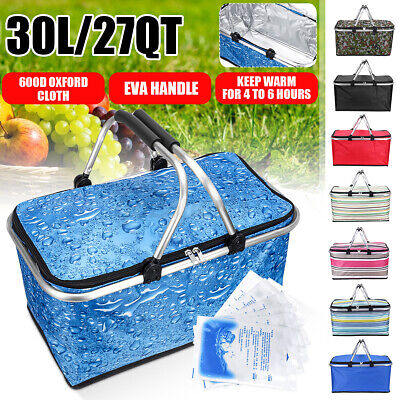 Lightweight Collapsible Warm//Cooler Ice Bag US 30L Insulated Picnic Basket Tote