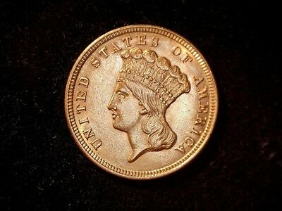 1854 Three Dollar Gold Indian Princess, uncertified