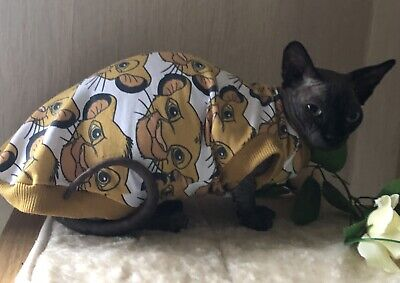 Handmade Clothes for Sphynx cat, Top/ Jumper For Devon Rex And Other Cats