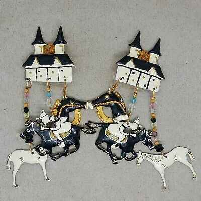 RARE 80s SIGNED VINTAGE LUNCH AT THE RITZ CHURCHILL DOWNS DERBY CLIP ON EARRINGS
