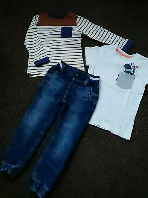 BOYS AGE 3-4 YEARS OUFIT 3P's SET JEAN'S TOP + T-SHIRT SPRING SUMMER EX - COND