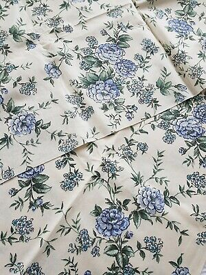 1.9 yard 1960s fabric By yard cherubs white flowers in blue Printed Synthetic Material
