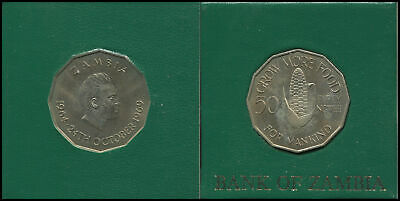 Zambia Coin 50 Ngwee - ND(1969) KM#14 Unc - Ear of corn