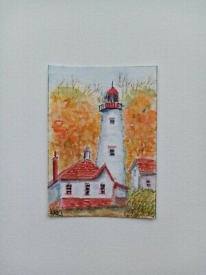 Sketch card professional digital print of my original painting Lighthouse ACEO Art card