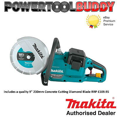 """Makita DCE090ZX1 Twin 18v / 36v 9""""  Brushless Disc Cutter Saw Inc Diamond Blade"""