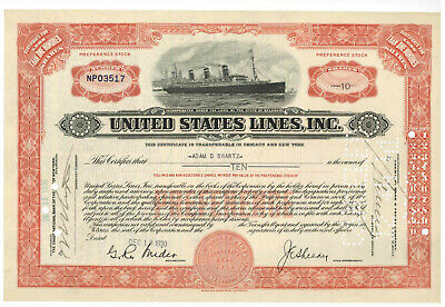 United States Lines, Inc. Stock Certificate 1930