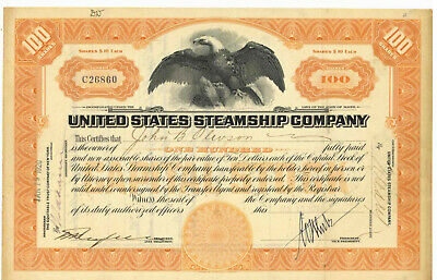 United States Steamship Company. Stock Certificate. 1920