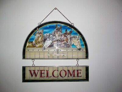 AMIA w/Charm - Stained Glass - *BEAUTIFUL HORSES WELCOME*..  WALL/DOOR HANGING